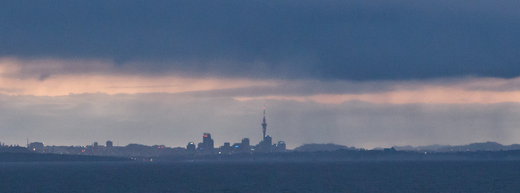 Auckland skyline with heavy overcast