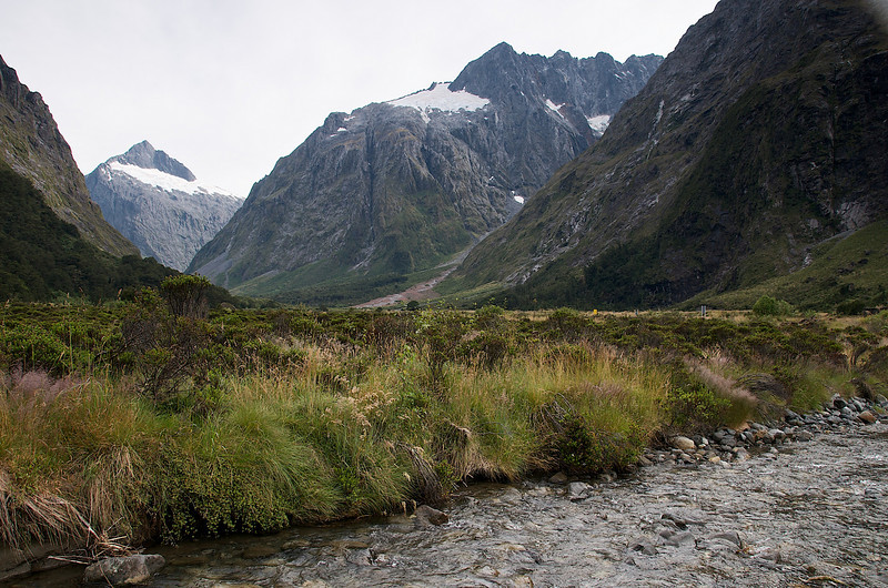 One of the many stops along the road to Milford Sound. Tiny glaciers in the background and presumably good fishing in the fore ground. . . . we'll see!