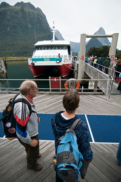 Alison and Dick getting ready to board our boat for a cruise on Milford Sound.
