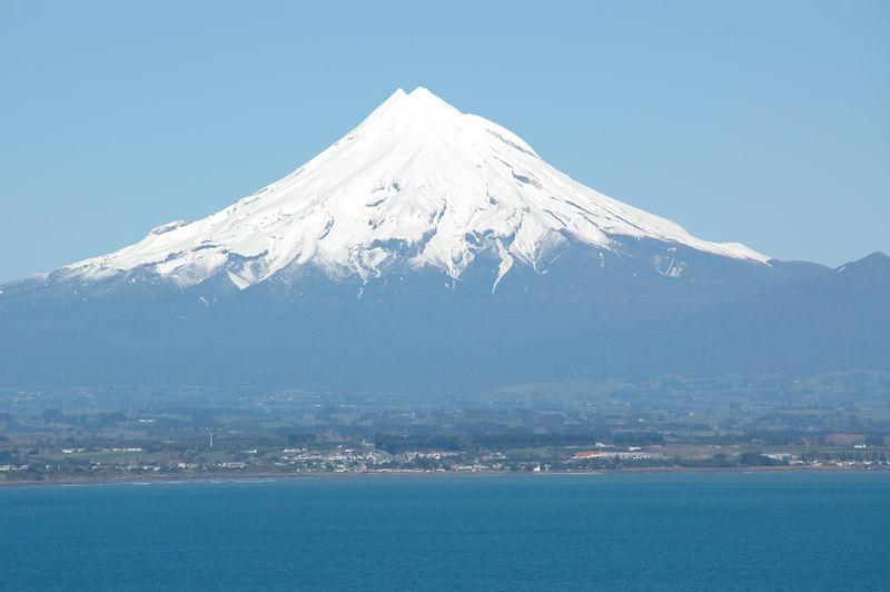 Mount Taranaki seen from Ensco 56 at Pohokura location offshore