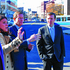 112816  Wesley Bunnell | Staff<br /> <br /> Mayor Erin Stewart led a tour for political figures on Columbus Ave to discuss future plans for the area. From left Congresswoman Elizabeth Esty, Mayor Erin Stewart, Senator Richard Blumenthal & Senator Chris Murphy with West Main St in the background.