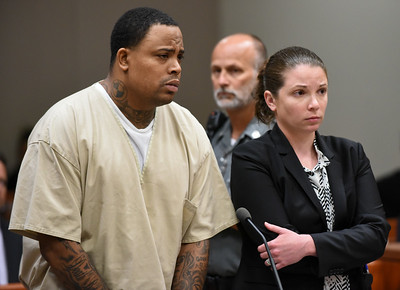 070617  Wesley Bunnell | Staff  Rahheem K. McDonald, 38, or Waterbury was arraigned in New Britain Superior Court on Thursday in connection with the murder of a motel clerk Pratikkumar Jagani in Berlin on Sunday. McDonald is shown with Attorney Stephanie O'Neil.