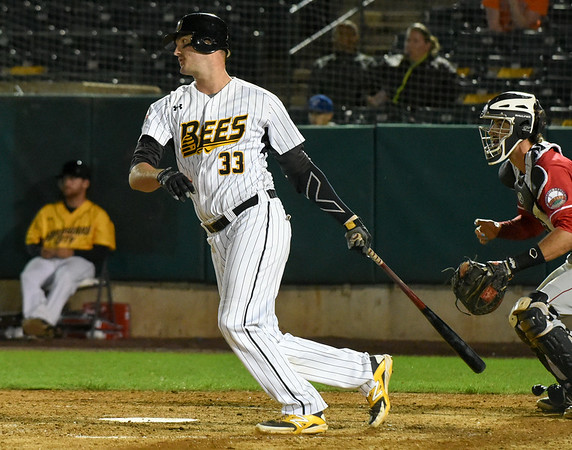 072417  Wesley Bunnell | Staff<br /> <br /> The New Britain Bees lost 2-1 to the Lancaster Barnstormers on Monday evening. Jon Griffin (33).
