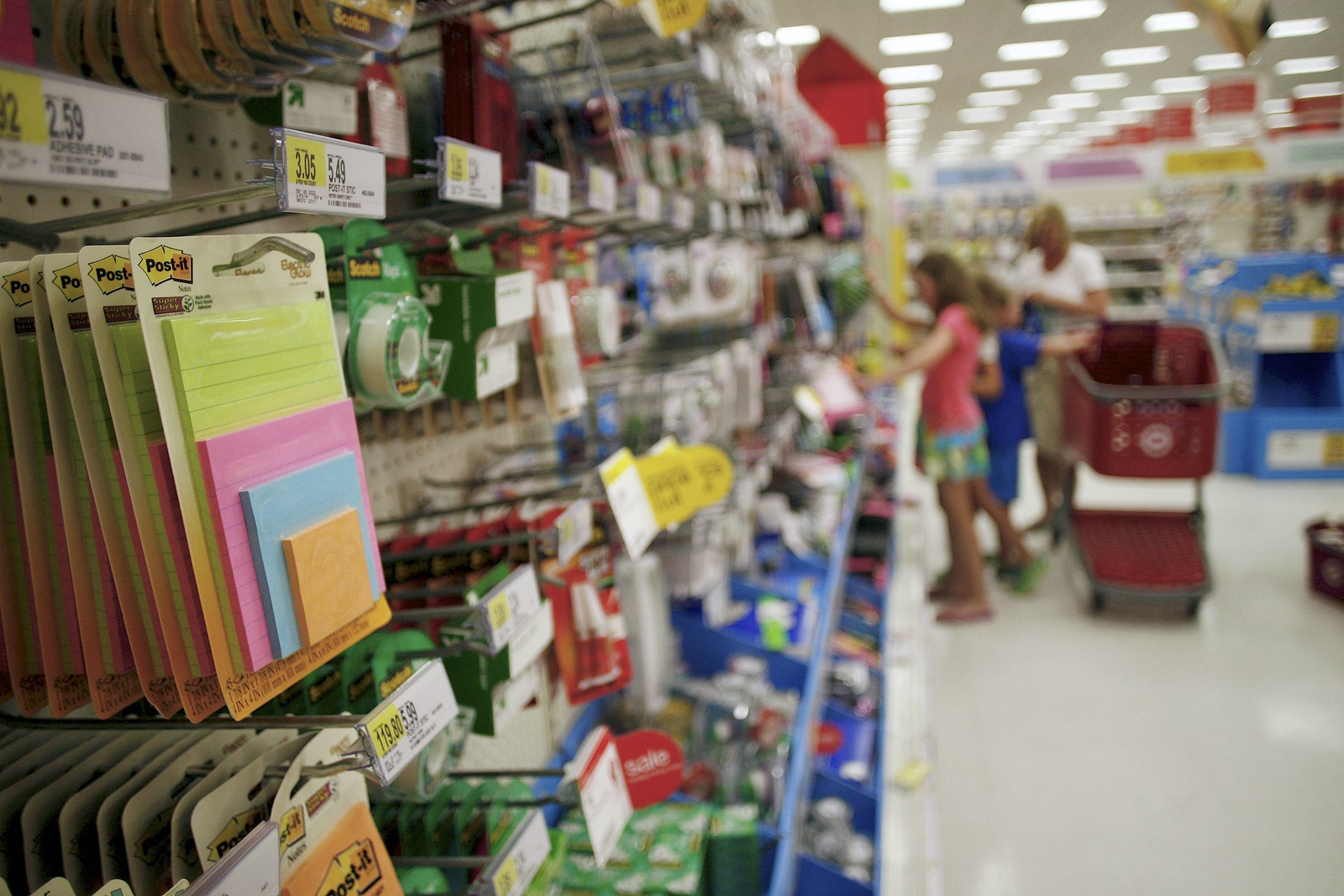 **Story by Scott**  Kevin Bartram   Staff Shelves are filled with school supplies at the Target store in New Britain on Friday.