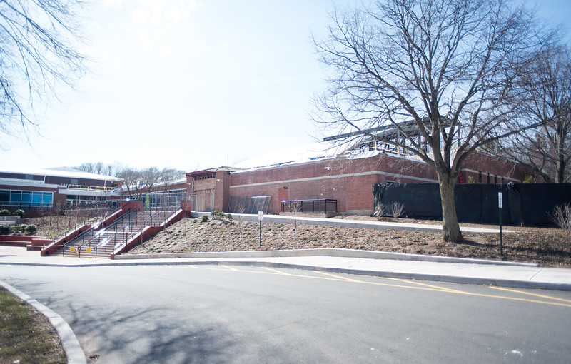 030116   Wesley Bunnell | Staff  Construction at Berlin High School.  To the left are stairs leading to the school's main entrance.