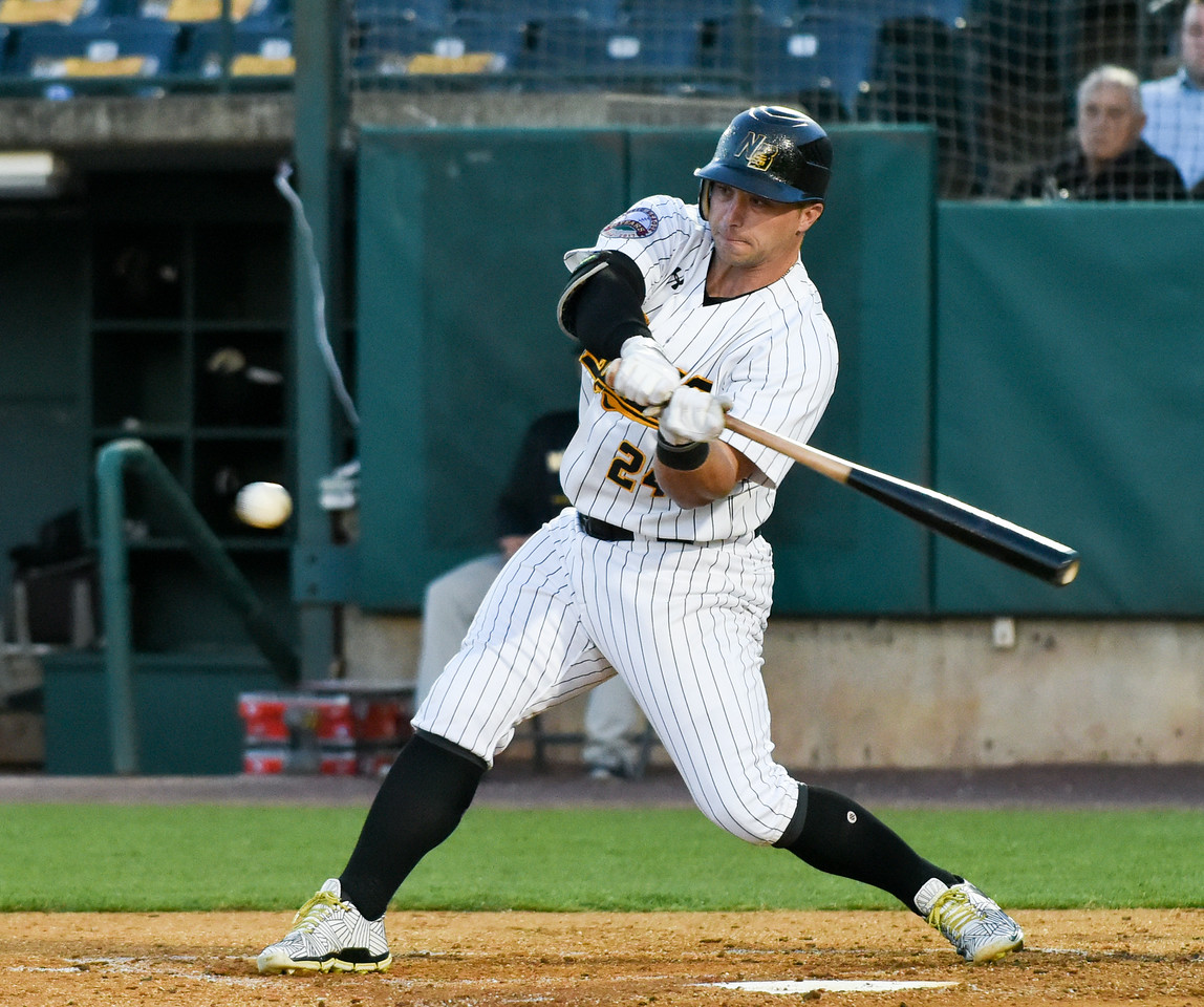 051117  Wesley Bunnell | Staff  New Britain Bees won in a 9th inning walk off home run by Conor Bierfeldt (28) on Thursday evening 4-3 over the Long Island Ducks. Craig Maddox (24) with a base hit.