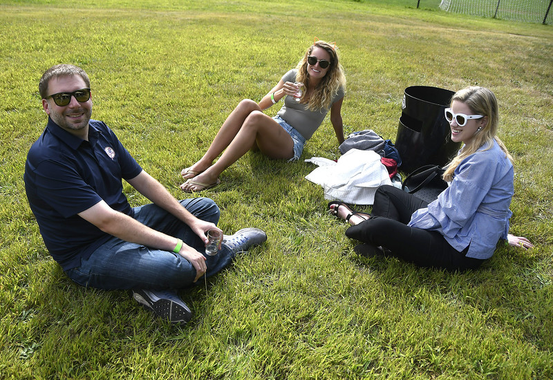 9/2/2017 Mike Orazzi | Staff Brian Corasaniti, Jordan Dell and Sammy Calhoun during the 2nd CT Hops for Hope beer festival held at Falcon Field in New Britain Saturday.