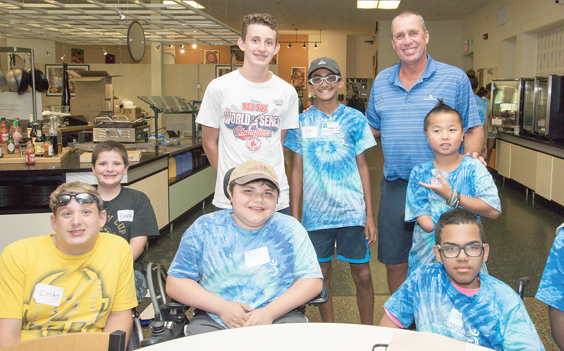 080217  Wesley Bunnell | Staff  Retired tennis professional Ivan Lendl, R, poses with campers at the Hospital for Special Care Ivan Lendl Adaptive Sports Camp on Wednesday afternoon at the University of St. Joseph in West Hartford.