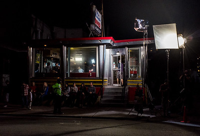 081517  Wesley Bunnell   Staff  Filming for the movie Christmas Hours at Miss Washington Diner on Tuesday night.