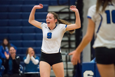 11/1/17  Wesley Bunnell | Staff  Southington girls volleyball defeated Platt Tech on Wednesday night at Southington High School.  Sara Myrick (9) reacting to a play.