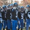 11/23/17  Wesley Bunnell | Staff<br /> <br /> Plainville football was defeated by Farmington on Thanksgiving morning for The Olde Canal Cup. Players point towards the end zone after a Ej Wynkoop (2) touchdown. Jason Riback (25), Ben Root (3), Dominic Pedrolini (5) and Tanner Callahan (46).