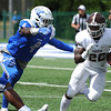 9/9/2017 Mike Orazzi   Staff<br /> CCSU's Randall LaGuerre (4) and Fordham's Chase Edmonds (22) during Saturday's game in New Britain.