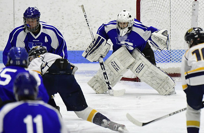 3/18/2017 Mike Orazzi | Staff Hall-Southington's Zachary Monti (36) during the CIAC 2017 State Boys Ice Hockey Tournament Division III Finals at Ingalls Rink in New Haven Saturday.