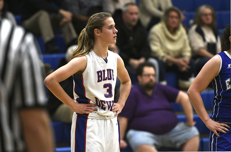 12/14/2017 Mike Orazzi | Staff<br /> Plainville'sCaitlin Barker (3) Thursday night in Plainville.