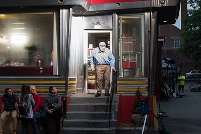 081517  Wesley Bunnell   Staff  Filming for the movie Christmas Hours at Miss Washington Diner on Tuesday night. Actor Brian Dennehey exits the diner between filming.