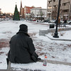 12/26/17  Wesley Bunnell | Staff<br /> <br /> Lifelong New Britain resident Rodney Houston, who is currently homeless, sits in a snowy and frigid Central Park on Tuesday December 26, 2017 as he makes plans to avoid the bitter cold expected in the area for the next few days.