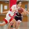 01/29/18  Wesley Bunnell | Staff<br /> <br /> Berlin boys basketball vs Bristol Central on Monday evening. Ryan Hyde (5).