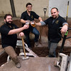 113016  Wesley Bunnell | Staff<br /> <br /> Opening early 2017 in New Britain is the Alvarium Beer Company with construction currently underway at their 365 John Downey Drive location. From the left are Head Brewer and co-owner Chris DeGasero, Sales & Tap Room Manager and co-owner Brian Bugnacki and Operations Manager and co-owner Mike Larson.
