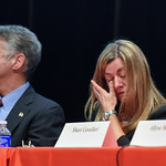 011117  Wesley Bunnell | Staff  Berlin High School held Discussion & Forum on Substance Abuse: In our Families and In our Community on Wednesday evening in the auditorium. Amy Andreana wipes ...