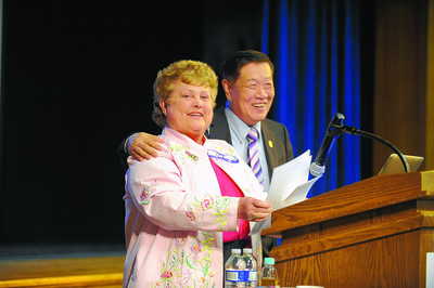 4/19/2016 Mike Orazzi | Staff State Representative Betty Boukus while introducing forensic scientist Dr. Henry  Lee at Plainville High School Tuesday morning.
