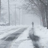 03/13/18  Wesley Bunnell | Staff<br /> <br /> A jogger runs down Hillcrest Ave during the latest snow storm on Tuesday.