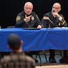 03/19/18  Wesley Bunnell | Staff<br /> <br /> Berlin held a school security safety meeting on Monday night at Berlin High School which was open to the public. Representatives from the town, police and fire departments gave an overview of their current responsibilities as well as planned changes while later answering questions from the audience. Police Chief John Klett addresses a question from an audience member as he is seated next to Deputy Fire Marshal/Director of Emergency Management Matt Odishoo.