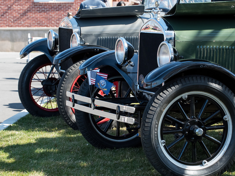04/21/18  Wesley Bunnell | Staff<br /> <br /> A pair of Rolls Royce Phantom's , Model II from 1929 furthest and a Model I from 1927, closest, bookend a 1926 Ford Model T at the Klingberg Family Center. The Klingberg Vintage Motorcar Series held their April event on Saturday with a focus on the Ford Model A.