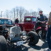 04/21/18  Wesley Bunnell | Staff<br /> <br /> Car owner Augie Reil, L, speaks with  Luke Stroehlein, middle and Nick Carroll in front of his 1940 Dodge truck at the Klingberg Family Center. The Klingberg Vintage Motorcar Series held their April event on Saturday with a focus on the Ford Model A.