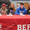 04/05/18  Wesley Bunnell | Staff<br /> <br /> Berlin High School students signed their letters of intent to play college sports on Thursday morning at Berlin High School.  Lexi Kaversky, L, committed to Sacred Heart, Julia Sisti committed to Stonehill, Noah Silverman to CCSU and Nikki Xiarhos to Bryant.