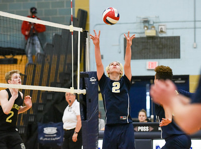060617 Wesley Bunnell | Staff  Newington boys volleyball defeated Joel Barlow at Kennedy High School in Waterbury in a semi final game to advance to the championship game to be played on June 8. Evan Metzger (2)