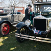 04/21/18  Wesley Bunnell | Staff<br /> <br /> Brandon Barriello and Rebecca Nowak take an up close look at a 1927 Rolls Royce Phantom I owned by Ernest Smith of Simsbury at the Klingberg Family Center. The Klingberg Vintage Motorcar Series held their April event on Saturday with a focus on the Ford Model A.