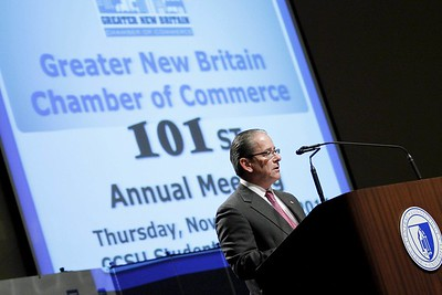 Kevin Bartram | Staff Chamber president Tim Stewart speaks during the 101st annual meeting of the Greater New Britain Chamber of Commerce on Thursday at CCSU.