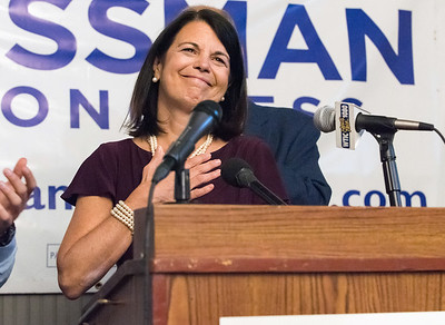 08/14/18  Wesley Bunnell | Staff  Democratic Candidate for Connecticut's 5th Congressional District Mary Glassman makes her concession speech at her campaign night headquarters at The Kitchen on Tuesday night in New Britain.