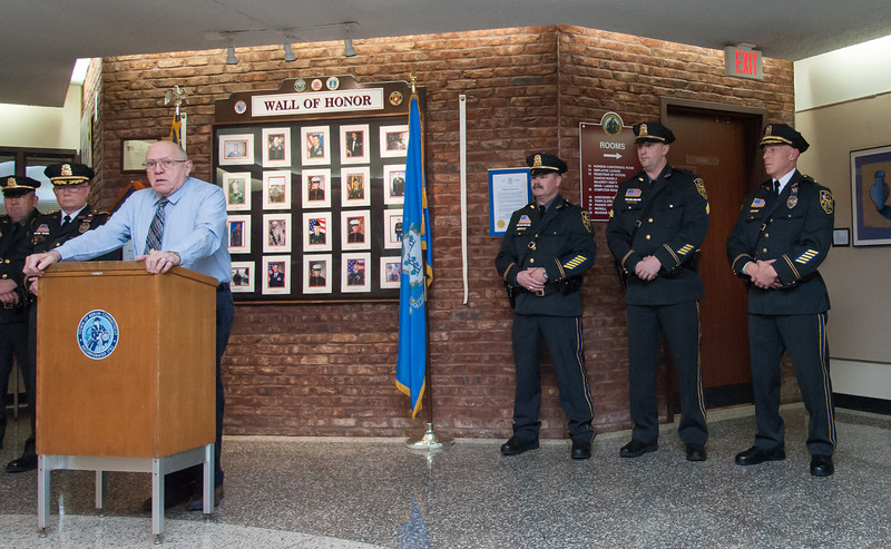 01/17/18  Wesley Bunnell   Staff  The Berlin Police Department held a promotion ceremony for two officers on Wednesday evening at town hall. Police Commissioner Chairman Bob Peters speaks before introducing Lieutenant Drew Gallupe and Sergeant Ryan Gould as they stand with Deputy chief Christopher Ciuci.