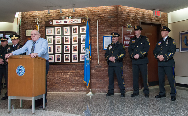 01/17/18  Wesley Bunnell | Staff  The Berlin Police Department held a promotion ceremony for two officers on Wednesday evening at town hall. Police Commissioner Chairman Bob Peters speaks before introducing Lieutenant Drew Gallupe and Sergeant Ryan Gould as they stand with Deputy chief Christopher Ciuci.