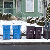 010616  Wesley Bunnell | Staff<br /> <br /> Recycle and trash cans on the curb outside a home near downtown New Britain.