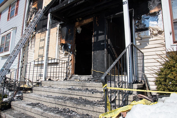031717  Wesley Bunnell | Staff<br /> <br /> Fire gutted 220 Lasalle St. unit B6 on the left and damaged the neighboring unit B5 early in the morning on March 17, 2017.