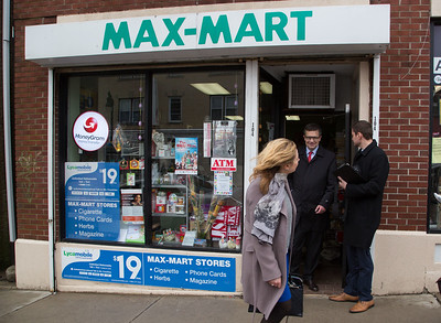 Poland's ambassador to the U.S. Piotr Wilczek leaves  Max-Mart as he tours several businesses on Broad Street in New Britain, April 1, 2017. (Photo by Christopher Zajac)