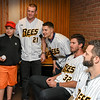 041817  Wesley Bunnell | Staff<br /> <br /> The New Britain elks Lodge 957 held their 35th Annual Welcome Baseball Dinner featuring The New Britain Bees on Tuesday evening. Matthew Cevallos, age 10, poses for a photo with Mike Hepple (21), Anthony Marzi (12) and Jonathan Pettibone (32).