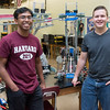 052517  Wesley Bunnell | Staff<br /> <br /> New Britain High School Valedictorian Saimun Habib, L, poses with Salutatorian Joseph Bechard in front of a creation they made in robotics class named Up is Open. Saimun Habib will attend Harvard University with Joseph Bechard will attend UCONN.