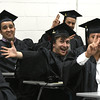 5/25/2017 Mike Orazzi   Staff<br /> Tunxis Community College graduate Jon Denski (center) at the Forty-sixth Commencement Thursday evening in Farmington.