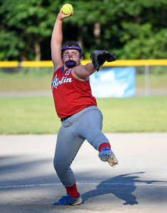 062617  Wesley Bunnell | Staff  Bristol defeated Berlin on Monday evening in Plainville to claim the Little Leage District 5 Softball Championship. Berlin pitcher Hailey Wiezcorek (32).