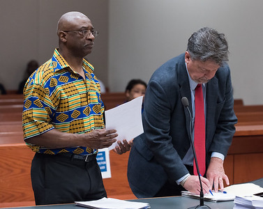 060117  Wesley Bunnell | Staff  Alfred Mayo, L, along with Attorney Dennis P. McMahon are shown in New Britain Superior Court on Thursday morning in a continuance of his court case from an incident from 2015. Alfred Mayo is accused of assault in the 3rd degree and breach of peach in the 2nd degree involving an incident with Mayor Erin Stewart. Judge Joan Alexander presided.