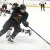 072717  Wesley Bunnell | Staff<br /> <br /> The Newington Tribe vs the New Haven Warriors in a Nutmeg Games hockey game on Thursday evening in Newington.  Jake Martin (9).