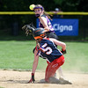 072617  Wesley Bunnell | Staff<br /> <br /> New York defeated Pennsylvania in a 2017 Little League Softball Eastern Regional Tournament game on Wednesday afternoon. New York's 2B Danielle Ryan (23) with the force on Pennsylvania's Katey Brennan (5).