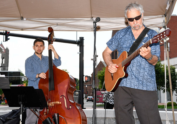 062817  Wesley Bunnell | Staff<br /> <br /> The Goza Latin Band plays Central Park on Wednesday afternoon. Bandleader Dave Giardina on guitar.