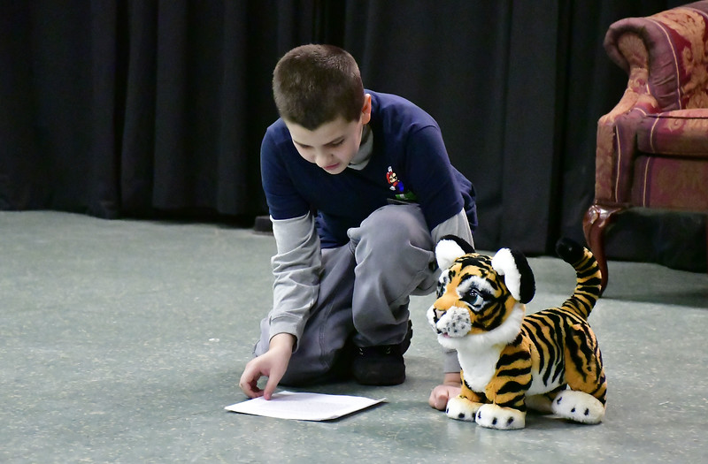 2/16/2019 Mike Orazzi   Staff Noah Devanney during a No Boundaries Youth Theater acting class at the New Britain-Berlin YMCA in Berlin Saturday morning.