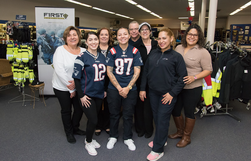 02/04/19  Wesley Bunnell | Staff  Security Uniforms Inc located on Broad St in New Britain is celebrating 100 years in business.  Angie Moustakasis, back row L, Purchasing Manager Robin Michaud, President Ross Gottlieb, VP Ilyse Gottlieb, Seamstress Fabiola Rodriguez.  Tailoring and Embroiderer Tiara Nieves , front row L, Shipper Awilda Alvarado and Salesperson Jeannie Nieves.