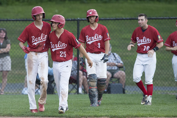 07/15/19  Wesley Bunnell | Staff  Berlin Legion baseball defeated West Hartford on a walk off wild pitch in the bottom of the 7th inning on Monday night at Sage Park.  Camden Murphy (2) and Daniel Veleas (25) at the conclusion of the game.