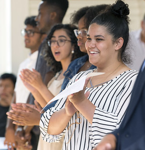 08/16/19  Wesley Bunnell | Staff  TRIO, a two week long summer program run by CCSU in science and arts held their closing ceremony on Friday August 16, 2019 at Founders Hall at CCSU.  Michaela Ahern, a rising Junior at NBHS, smiles at the conclusion of State Rep. Robert Sanchez's speech honoring the program.